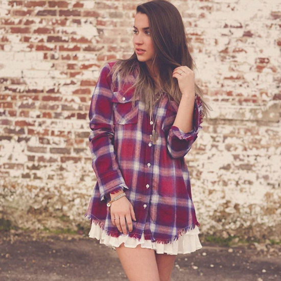 Free Spirit Frayed Edge Flannel Shirt in Wine & Ivory