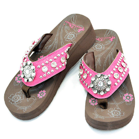 Montana West Bling Bling Wedge Flip Flops- Pink