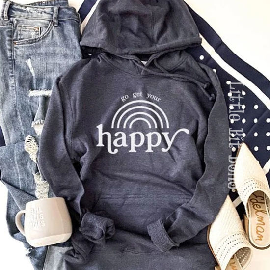 Go Get Your Happy French Terry Hoodie - Navy