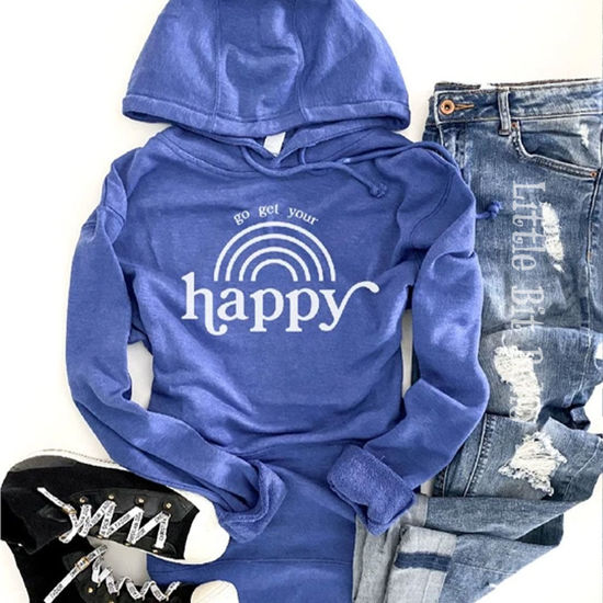 Go Get Your Happy French Terry Hoodie - Royal Blue