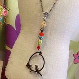 Scooples Designer Jewelry 2 BIRDS - MULTI STONES Necklace