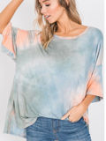 Tie Dye Oversize Top in Blue & Orange