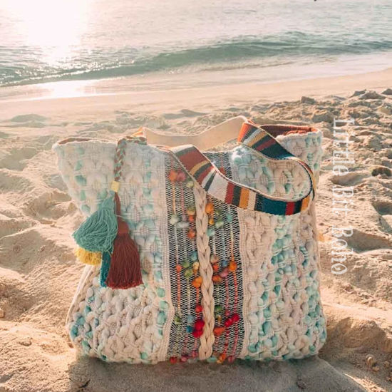 Mint and White Rope Bag