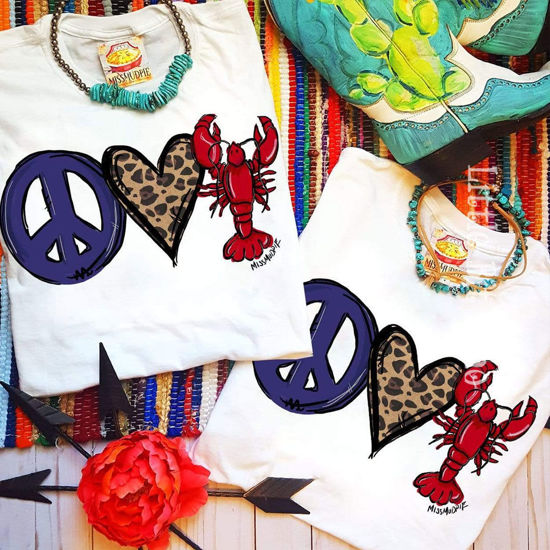 Peace Love Crawfish Tee in White