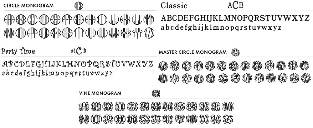 Traditional Monogram fonts
